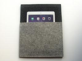 Wohnmobil-Wandtasche mit Klettband, 25x32cm, 100% Wollfilz, anthrazit-hellgrau