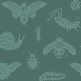 Acorn Trail / Bugs Tonal Blue / Popeline