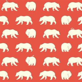 Birch Organic Fabrics / Bear Hike / Coral / Jersey