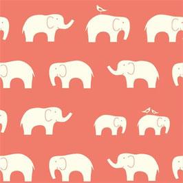 Birch Organic Fabrics / Elephant / Coral