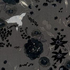 Nani Iro / BEAU Yin Yang  / Cadeau / Dark Grey / Satinierter Baumwollstoff