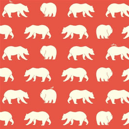 Birch Organic Fabrics / Bear Hike / Coral / Popeline