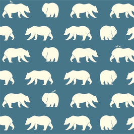 Birch Organic Fabrics / Bear Hike / Blue / Popeline