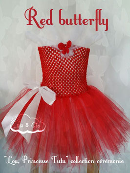 "Robe ""Lou, Princesse Tutu"" Ombreline Red Butterfly"