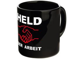 """Tasse """"Held der Arbeit"""" schwarz"""