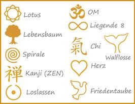 Optional: Sticksymbol in Gold für unsere Upcyling-Kissen