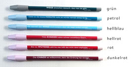 Bunter Bleistift mit Spruch und Radierkappe