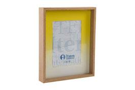 Portafoto madera 10x15 más paspartout amarillo