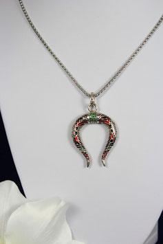 Ein Symbol der Stärke.                                                                                                              Silbernes Drachenhorn färbig emailliert mit Edelstahlkette.