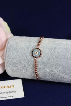 Armband mit Zwischenteil aus Silber rotvergoldet türkis färbig