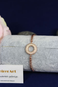 Armband mit Zwischenteil aus Silber rotvergoldet mit Stopper