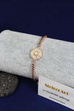 Armband mit Zwischenteil aus Silber rotvergoldet