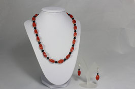 Damen-Korallenkette mit Ohrringen (Set) Koralle Natur mit Onyx Collier 49 cm