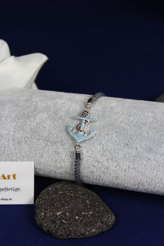 Armband mit wunderschönen Anker und grauen Samtkordel