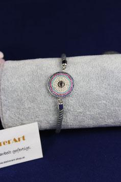 Armband mit wunderschönen Zwischenteil und  grauen Samtkordel