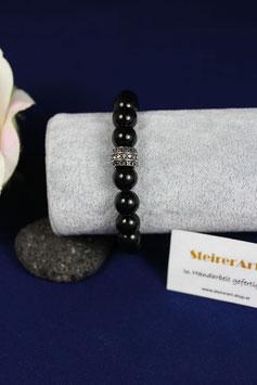 Armband mit Onyx und einen Zwischenteil aus Edelstahl