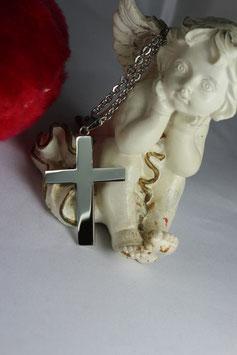 Kreuz aus Edelstahl poliert mit Kette
