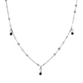 Silver Midnight Necklace Three Onyx
