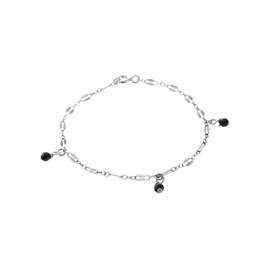 Silver Midnight Ankle Bracelet Three Onyx