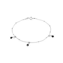 Silver Galaxy Ankle Bracelet Three Onyx