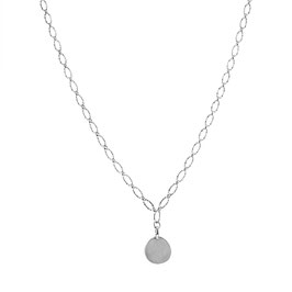 Silver Chunky Necklace Big Coin