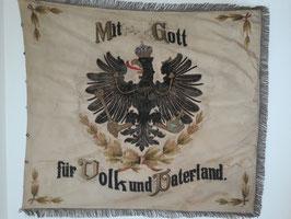 """Große Fahne """"Kriegerverein des Kirchspiels Limmer 1883"""" Reichs Flagge, """"Mit Gott für Volk und Vaterland"""" mit Reichsadler"""
