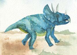 Designkarten-Set 'Dino blau' 5 Stück