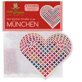 Bastelset Sticken 'herzliche Grüße aus München'