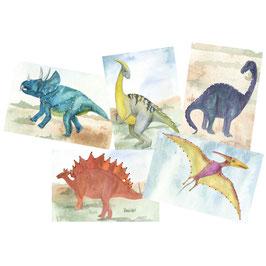 Designkarten-Set 'Dinos Mix' 5 Stück