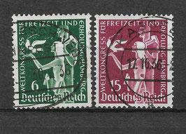 Deutsches Reich WELTKONGRESS für FREIZEIT und ERHOLUNG 622-623 gestempelt