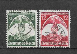 Deutsches Reich REICHSPARTEITAG 586-587 X gestempelt (2)
