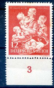 Deutsches Reich 10 JAHRE WINTERHILFSWERK 859 postfrisch als Unterrandstück