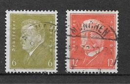 Deutsches Reich FREIMARKE 465-466 gestempelt