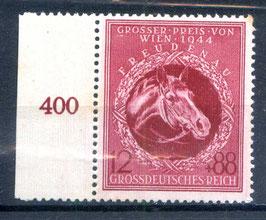 Deutsches Reich GALOPPRENNEN GROßER PREIS von WIEN 901 postfrisch als Seitenrandstück
