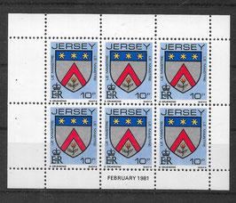 Jersey Kleinbogen 252 A postfrisch