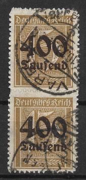 Deutsches Reich FREIMARKE 297 gestempelt als Paar (INFLA)