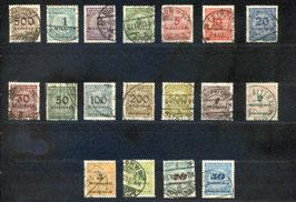 Deutsches Reich FREIMARKE 313-330 A gestempelt (330 INFLA)