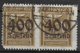 Deutsches Reich FREIMARKE 298 gestempelt als Paar (INFLA)