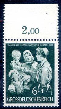 Deutsches Reich 10 JAHRE HILFSWERK MUTTER und KIND 870 postfrisch als Oberrandstück