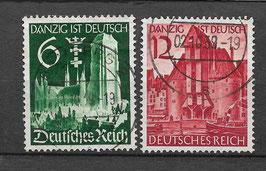 Deutsches Reich WIEDEREINGLIEDERUNG DANZIG 714-715 gestempelt (2)