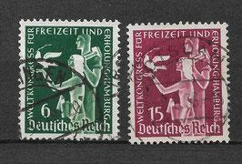 Deutsches Reich WELTKONGRESS für FREIZEIT und ERHOLUNG 622-623 gestempelt (2)
