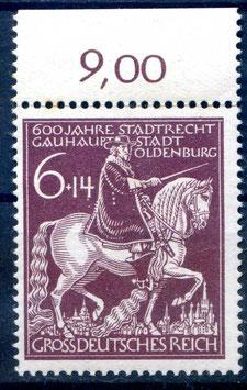 Deutsches Reich 600 JAHRE STADTRECHTE OLDENBURG 907 postfrisch als Oberrandstück