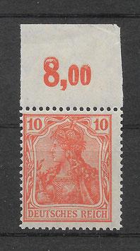 Deutsches Reich GERMANIA 141 postfrisch als Oberrandstück
