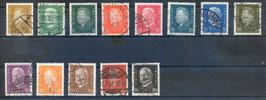 Deutsches Reich FREIMARKE REICHSPRÄSIDENTEN 410-422 gestempelt