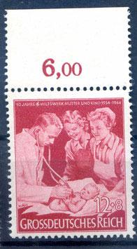 Deutsches Reich 10 JAHRE HILFSWERK MUTTER und KIND 871 postfrisch als Oberrandstück