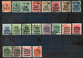 Deutsches Reich FREIMARKE 277-296 gestempelt