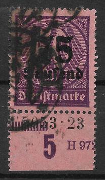 Deutsches Reich DIENST 91 gestempelt als Unterrandstück