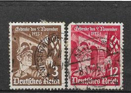 Deutsches Reich 12. JAHRESTAG des MARSCHES zur FELDHERRNHALLE 598-599 gestempelt