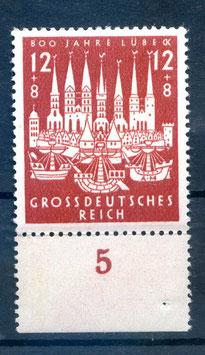 Deutsches Reich 800 JAHRE HANSESTADT LÜBECK 862 postfrisch als Unterrandstück