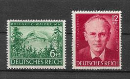 Deutsches Reich 100.GEBURTSTAG von PETER ROSEGGER 855-856 postfrisch